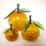 redlands orange glass ornaments